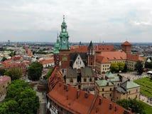 Belle vue d'en haut Grande vue sur le château de Wawel, la perle de la vieille partie de la ville de Cracovie La Pologne, l'Europ photo stock