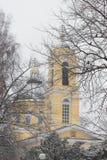 Belle vue d'hiver de cathédrale de Peter et de Paul en parc, Gomel, Belarus Image libre de droits
