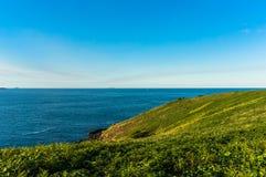 Belle vue d'océan et colline herbeuse verte avec Photographie stock libre de droits