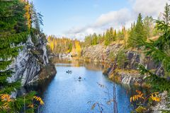 Belle vue d'un canyon dans Ruskeala Photographie stock libre de droits