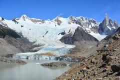 Belle vue d'un glacier à l'intérieur du parc national de visibilité directe Glaciares, EL Chaltén, Argentine Images stock