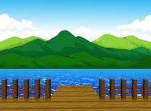 Belle vue de bande dessinée de dock avec le fond de paysage de montagne Photos stock