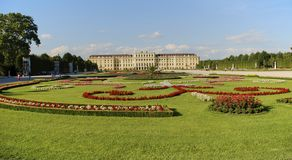 Belle vue de belvédère célèbre de Schloss, établie par Johann Lukas von Hildebrandt comme résidence d'été pour le prince images libres de droits