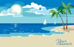 Belle vue de bord de la mer le jour ensoleillé dans le style plat de conception Image libre de droits