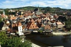 Belle vue de Cesky-Krumlov de la vieille ville Photos libres de droits
