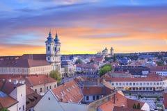 Belle vue de l'église de Minorit et du panorama de la ville d'Eger, Hongrie Images libres de droits