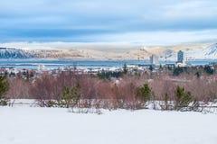 Belle vue de l'hiver de Reykjavik dans la saison d'hiver de l'Islande Images libres de droits