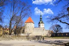 Belle vue de la première tour du ` s avec le mur adjacent de forteresse et du dôme de la tour Oleviste Churchand à Tallinn image libre de droits