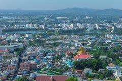 Belle vue de la ville de la province de Nakhon Sawan, Thaïlande Photographie stock libre de droits