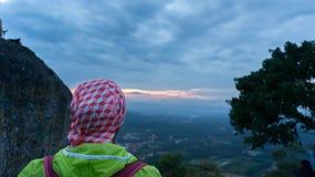 Belle vue de lever de soleil à la colline de broga, Malaisie Images stock