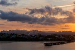 Belle vue de marina de Coffs Harbour avec le pilier et photographie stock