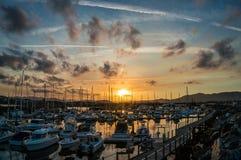Belle vue de marina de Coffs Harbour, voiliers photo stock
