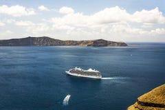 Belle vue de mer en Grèce, la mer Méditerranée, Santorini Images stock