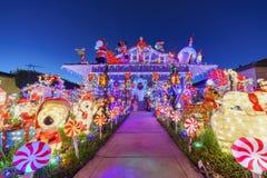 Belle vue de nuit, décoration de Noël de hou américain de style Image libre de droits