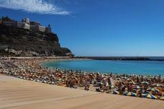 Belle vue de plage d'Amadores, mamie Canaria, Espagne Photo stock