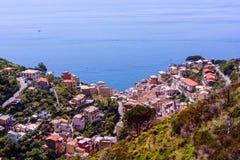 Belle vue de Riomaggiore, Italie Photographie stock