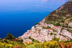 Belle vue de Riomaggiore, Italie Photo libre de droits