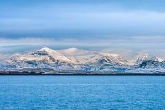 Belle vue de saison d'hiver de l'Islande Photo libre de droits
