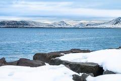 Belle vue de saison d'hiver de l'Islande Photos libres de droits