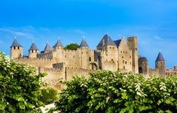 Belle vue de vieille ville de Carcassone france Image stock