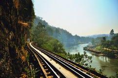 Belle vue de voie de railwat de chemin de fer thaïlandais Images stock