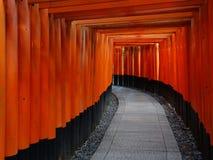 Belle vue des portes rouges de Torii au tombeau de Fushimi Inari à Kyoto images libres de droits