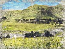 Belle vue des prés dans les montagnes, la Géorgie Pirouette rouge-foncé de Digitals art illustration de vecteur