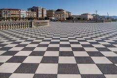 Belle vue du Terrazza célèbre Mascagni et le belvédère sur le bord de mer de Livourne, Toscane, Italie images stock