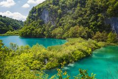 Belle vue en parc national de lacs Plitvice Croatie photos libres de droits