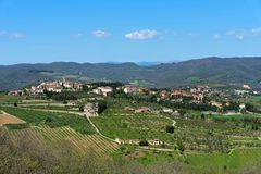 Belle vue panoramique de Radda dans la province de chianti de Sienne, Toscane, Italie photos libres de droits