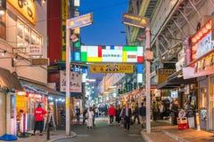 Belle vue panoramique de ville au crépuscule dans la région Tokyo d'Ueno photo stock