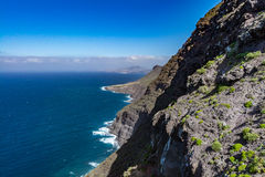 Belle vue panoramique (mamie Canaria) de paysage jaune canari grand de littoral Photos libres de droits
