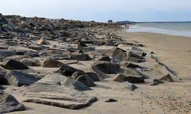 Belle vue tôt de ressort de plage de Duxbury photo libre de droits