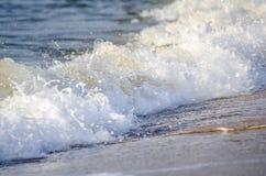 Belle vue tropicale de mer de lever de soleil de plage vague molle frappant la plage sablonneuse Image libre de droits