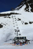 Bellecote, Plagne Centre, Winter landscape in the ski resort of La Plagne, France Royalty Free Stock Photo