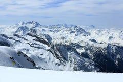 Bellecote, Plagne Centre, Winter landscape in the ski resort of La Plagne, France Royalty Free Stock Photos