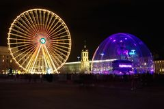 Bellecour square in Lyon during light festival royalty free stock image