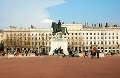 The Bellecour square in Lyon. Statue of Louis XIV. This is the central square of city of Lyon in France Stock Photography