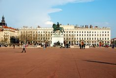 The Bellecour square in Lyon. Statue of Louis XIV. Stock Photography