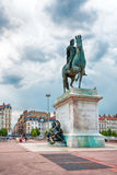 The Bellecour square. Statue of Louis XIV in Lyon, France. Stock Photography