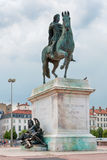 The Bellecour square. Statue of Louis XIV in Lyon, France. Royalty Free Stock Photos