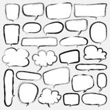 Bellen Geplaatst Krabbelstijl Grappige Ballon, Wolk Gestalte gegeven Ontwerpelementen vector illustratie