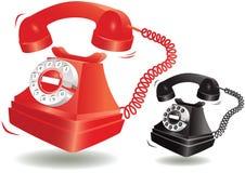 Bellende ouderwetse telefoon Stock Afbeeldingen