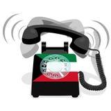 Bellende zwarte stationaire telefoon met roterende wijzerplaat en met vlag van Koeweit royalty-vrije stock foto