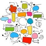 Bellentoespraak en pijlen op wit Stock Afbeeldingen
