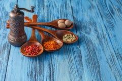 Belles épices colorées dans des cuillères sur une vieille table bleue en bois Photos stock