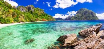 Belles îles tropicales - Palawan stupéfiant, Philippines images stock