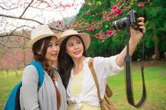 Belles amies employant l'appareil-photo professionnel Photos stock