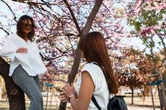 Belles amies heureuses se reposant en parc Image libre de droits