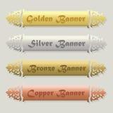 Belles bannières biseautées florales d'or, argentées, en bronze, et de cuivre réglées Image libre de droits